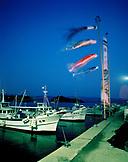 JAPAN, Kyushu, boats moored in Genkai Harbor at night