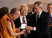 U.S. President George W. Bush (R) and U.S. Senator Robert Byrd present the Dalai Lama with the Congressional Gold Medal in Washington DC USA on 17 October 2007. U.S. President George W. Bush (R) and U.S. Senator Robert Byrd present the Dalai Lama with the Congressional Gold Medal in Washington DC USA on 17 October 2007.