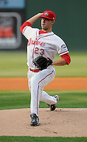 Pitcher Anthony Ranaudo (23) of the Greenville Drive pitches during his professional debut against the Augusta GreenJackets on April 9, 2011, at Fluor Field at the West End in Greenville, S.C. The 39th overall selection by the Boston Red Sox in the 2010 First-Year Player Draft out of LSU gave up three hits over his 74 pitch, five-inning performance and picked up the win. Photo by Tom Priddy / Four Seam Images