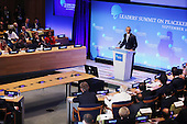 United States President Barack Obama delivers remarks during the Leaders' Summit on Peacekeeping during the 70th annual UN General Assembly at the UN headquarters September 28, 2015 in New York City. Obama held a bilateral meeting with Indian Prime Minister Narendra Modi and will have a face-to-face meeting with Russian President Vladimir Putin later in the day.  <br /> Credit: Chip Somodevilla / Pool via CNP