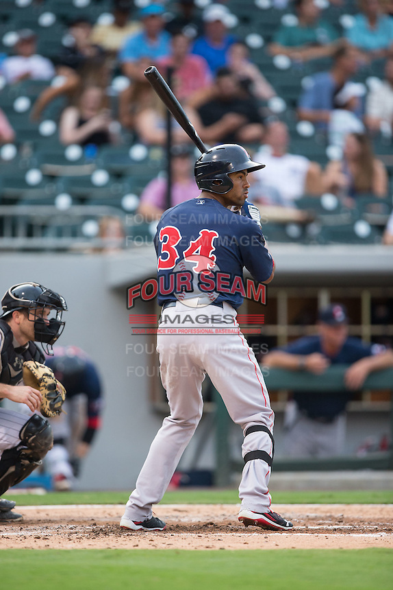Henry Ramos (34) of the Pawtucket Red Sox at bat against the Charlotte Knights at BB&T BallPark on July 6, 2016 in Charlotte, North Carolina.  The Knights defeated the Red Sox 8-6.  (Brian Westerholt/Four Seam Images)