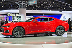 A red Chevrolet Camaro ZL1 is unveiled at the New York International Auto Show 2016, at the Jacob Javits Center. This was Press Preview Day one of NYIAS, and the Trade Show will be open to the public for ten days, March 25th through April 3rd.