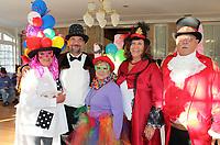 NWA Democrat-Gazette/CARIN SCHOPPMEYER Kat Ciecwa (from left), Todd Paden, Karen Finkeldei, Anna Marie Lee and Rich Whitney go Under the Big Top at the Mad Hatter Ball.