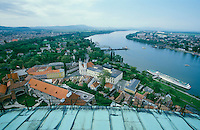 Esztergom, ships on the Danube seen from the Dome.
