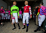 LOUISVILLE, KY - MAY 04: Jockey Mike Smith talks to another jockey in the tunnel before joining in the Survivor's Parade on Kentucky Oaks Day at Churchill Downs on May 4, 2018 in Louisville, Kentucky. (Photo by Scott Serio/Eclipse Sportswire/Getty Images)
