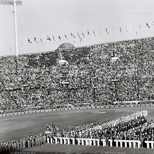 Tokyo Olympic Opening Ceremony,<br /> OCTOBER 10, 1964 - Opening Ceremony : A general view of the Opening Ceremony of 1964 Tokyo Olympic Games at National Stadium in Tokyo, Japan.<br /> (Photo by Shinichi Yamada/AFLO) [0348]