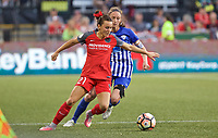 Portland, OR - Saturday May 27, 2017: Hayley Raso, Megan Oyster during a regular season National Women's Soccer League (NWSL) match between the Portland Thorns FC and the Boston Breakers at Providence Park.