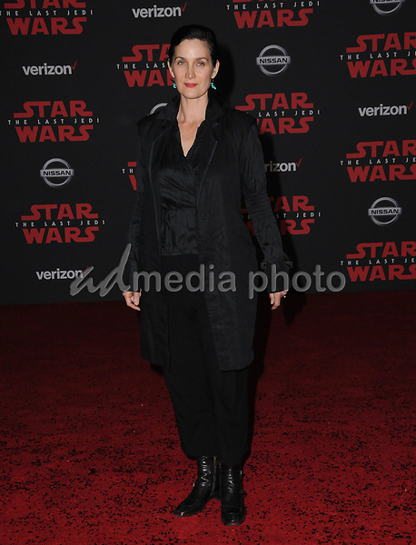 "09 December  2017 - Los Angeles, California - Carrie Anne Moss. Premiere Of Disney Pictures And Lucasfilm's ""Star Wars: The Last Jedi"" held at The Shrine Auditorium  in Los Angeles Photo Credit: Birdie Thompson/AdMedia"
