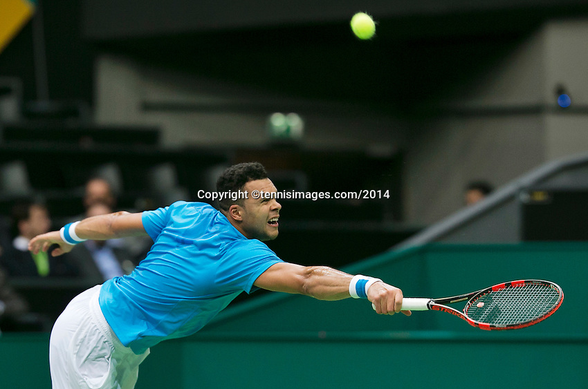 10-02-14, Netherlands,Rotterdam,Ahoy, ABNAMROWTT,, , Jo-Wilfried Tsonga(FRA) <br /> Photo:Tennisimages/Henk Koster