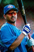 Orlando Merced of the Toronto Blue Jays during a game at Anaheim Stadium in Anaheim, California during the 1997 season.(Larry Goren/Four Seam Images)