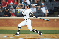 Michael Ludowig (22) of the Wake Forest Demon Deacons follows through on his swing against the North Carolina State Wolfpack at David F. Couch Ballpark on April 18, 2019 in  Winston-Salem, North Carolina. The Demon Deacons defeated the Wolfpack 7-3. (Brian Westerholt/Four Seam Images)