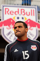 Andre Akpan (15) of the New York Red Bulls prior to playing the Philadelphia Union during a Major League Soccer (MLS) match at Red Bull Arena in Harrison, NJ, on March 30, 2013.