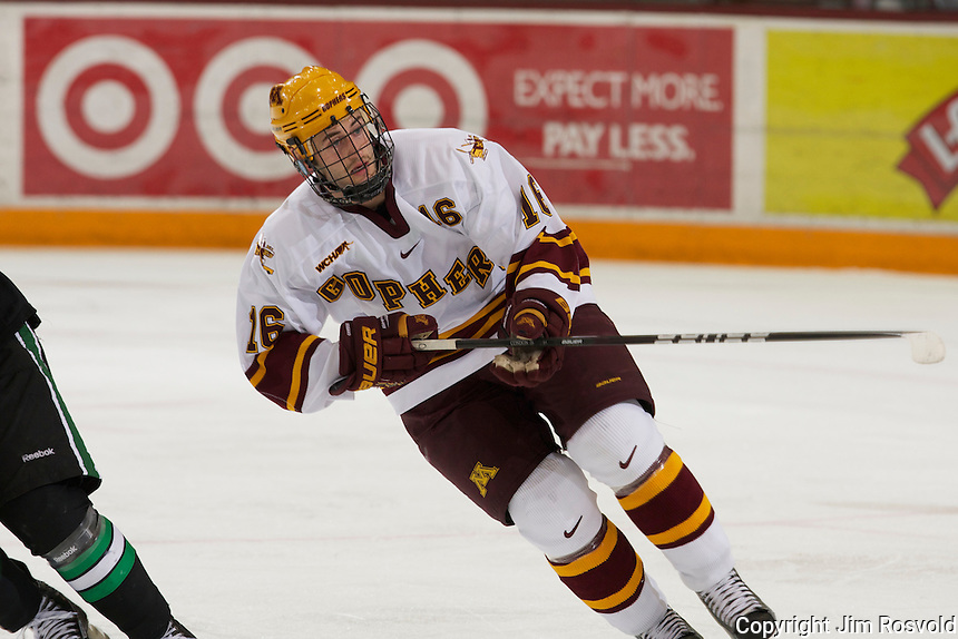 6 Nov 11: The University of Minnesota Golden Gophers host the University of North Dakota Fighting Sioux in a WCHA matchup at Mariucci Arena in Minneapolis, MN.