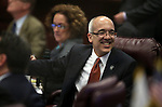 Nevada Senate Majority Leader Mo Denis, D-Las Vegas, works on the Senate floor at the Legislative Building in Carson City, Nev., on Sunday, June 2, 2013. <br /> Photo by Cathleen Allison