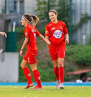 20200821 - Woluwe: Woluwe's Kenza Vrithof (right) celebrates Stephanie Suenen's goal (left) during a friendly match between Femina WS Woluwe vs K Wuustwezel FC on 21th of August 2020, in Stade Fallon, Woluwe. PHOTO: Sportpix.be | SEVIL OKTEM