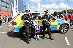 A young Scotland fan speaks to armed police during the FIFA World Cup Qualifying match at Hampden Park Stadium, Glasgow Picture date 10th June 2017. Picture credit should read: David Klein/Sportimage