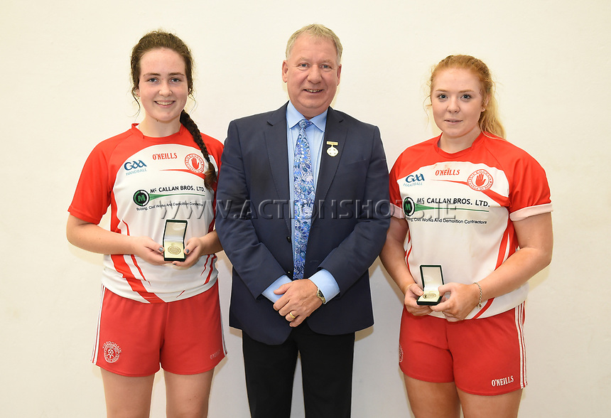 15/10/2017; All-Ireland Handball 60x30 Juvenile Finals; Garryhill Handball Club, Co Carlow;<br /> Girls Under 16 Doubles, Kilkennys Noelle Dowling and Roisin O&rsquo;Keeffe vs Caitlin Conway and Elizabeth McGarvey of Tyrone.<br /> GAA Handball President Joe Masterson presents the winners medals to Elizabeth McGarvey and Caitlin Conway of Tyrone.<br /> Photo Credit: actionshots.ie/Tommy Grealy