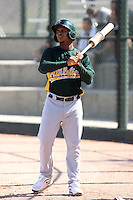 Vicmal De La Cruz #35 of the Oakland Athletics plays in an extended spring training game against the Colorado Rockies at the Athletics minor league complex on April 13, 2011  in Phoenix, Arizona. .Photo by:  Bill Mitchell/Four Seam Images.