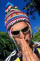 Hans Rey wearing knitted hat<br /> Laguna , California<br /> pic copyright Steve Behr / Stockfile