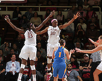 STANFORD, CA - February 12, 2011: Stanford Cardinal's Chiney Ogwumike and Nnemkadi Ogwumike  during Stanford's 82-59 victory over UCLA at Maples Pavilion.
