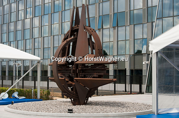 Belgium, Brussels - July 11, 2018 -- NATO summit, meeting of Heads of State / Government; here the NATO Star, sculpture, outside the new building -- Photo © HorstWagner.eu
