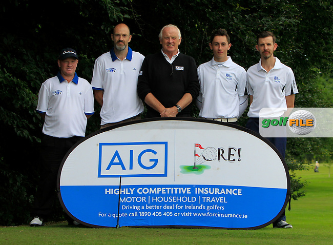 Christy Wimsey &amp; Michael Haran (Tubbercurry), Brendan McKenna (AIG - Sponsor), Sean O' Connell &amp; Paul Molloy (Athenry) at the 1st tee during the AIG Jimmy Bruen Shield Semi-Finals of the AIG Connacht Cups &amp; Shields Finals 2016 at Ballinrobe Golf Club, Ballinrobe Co. Mayo on Friday 5th August 2016.<br /> Picture:  Golffile | Thos Caffrey<br /> <br /> All photos usage must carry mandatory copyright credit   (&copy; Golffile | Thos Caffrey)