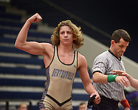 NWA Democrat-Gazette/BEN GOFF @NWABENGOFF<br /> Cash Jones of Bentonville celebrates after defeating Logan Sloss of Russellville in the 145 weight class final Saturday, Feb. 11, 2017, during the Big West Conference wrestling tournament at Wolverine Arena in Centerton.