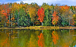 Brilliant fall colors reflected in a lake in West Virginia Mountains