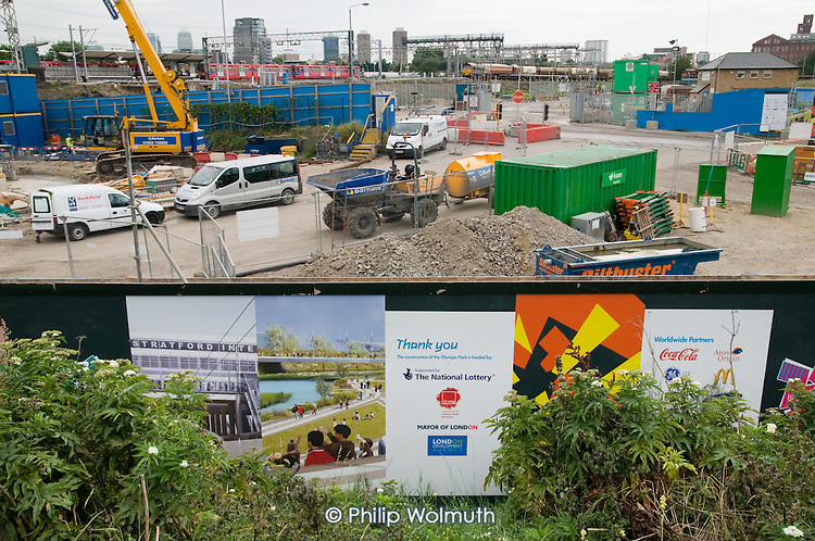 Construction work at the London 2012 Olympic site in East London.