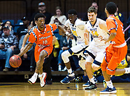 Morgantown, WV - NOV 18, 2017: Morgan State Bears guard Antonio Gillespie (10) brings the ball up court during game between West Virginia and Morgan State at WVU Coliseum Morgantown, West Virginia. (Photo by Phil Peters/Media Images International)