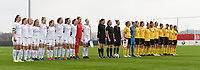 20190406  - Tubize , BELGIUM : both teams pictured during the soccer match between the women under 19 teams of Belgium and Finland , on the second matchday in group 2 of the UEFA Women Under19 Elite rounds in Tubize , Belgium. Saturday 6 th April 2019 . PHOTO DIRK VUYLSTEKE / Sportpix.be