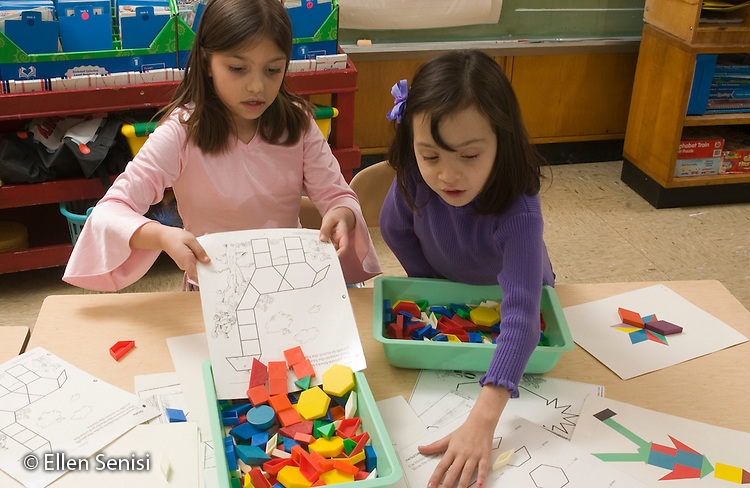 MR/Schenectady, New York.Zoller School- Inclusion classroom (urban, public, elementary school)/ Grade 1    Students use pattern blocks at math activity time. (Girl left:7; Girl right:7, cleft lip, blood disorder)..MR: Gia1, But1.© Ellen B. Senisi