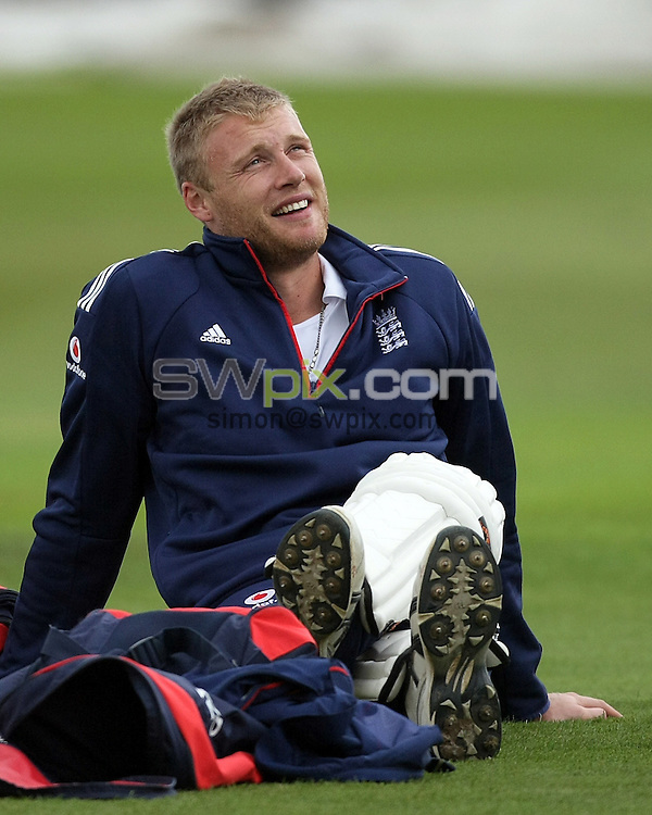 PICTURE BY VAUGHN RIDLEY/SWPIX.COM - Cricket - 2nd npower Test Match - England v South Africa Nets Session - Headingley, Leeds, England - 16/07/08...Copyright - Simon Wilkinson - 07811267706...England's Andrew Flintoff takes part in the nets session as he returns to the England Squad.