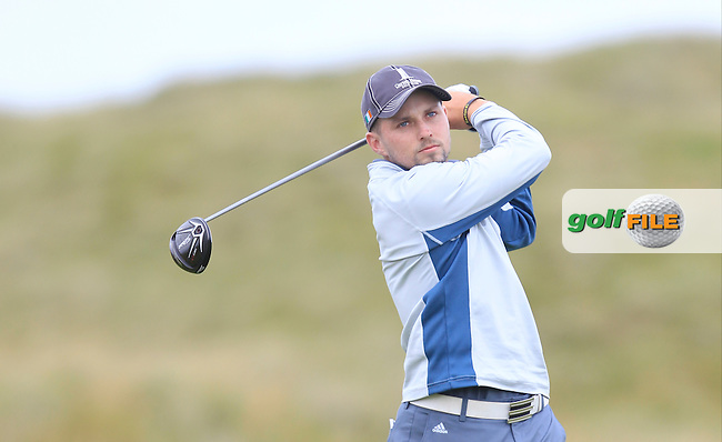 Keith Egan (Carton House) on the 2nd tee during Matchplay Round 4 of the South of Ireland Amateur Open Championship at LaHinch Golf Club on Saturday 25th July 2015.<br /> Picture:  Golffile   TJ Caffrey