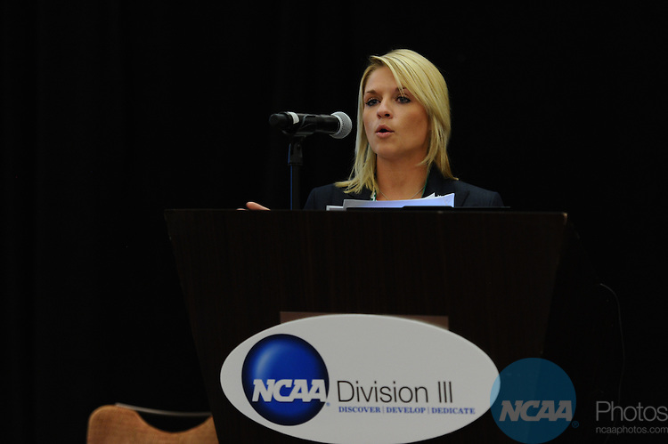 11 JAN 2012: The Division III Joint Breakfast at the 2012 NCAA Convention held at the JW Marriott and Indianapolis Convention Center in Indianapolis, IN.  Stephen Nowland/NCAA Photos.Pictured: Brittany Petrella