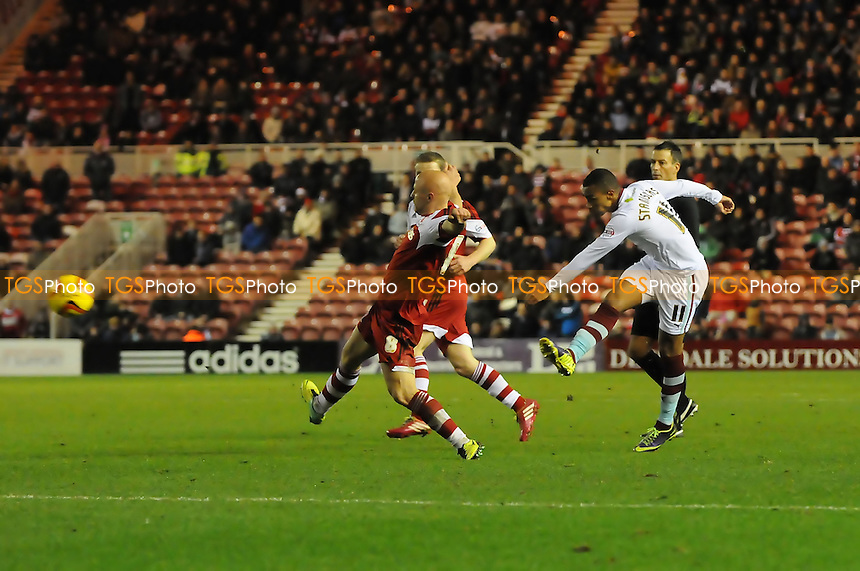 Junior Stanislas of Burnley shoots - Middlesbrough vs Burnley - Sky Bet Championship Football at the Riverside Stadium, Middlesbrough - 26/12/13 - MANDATORY CREDIT: Steven White/TGSPHOTO - Self billing applies where appropriate - 0845 094 6026 - contact@tgsphoto.co.uk - NO UNPAID USE