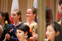 Contestant Emma Thomazeau of France smiles during the opening ceremony of the 11th USA International Harp Competition at Indiana University in Bloomington, Indiana on Wednesday, July 3, 2019. (Photo by James Brosher)