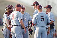 UALR meeting on the mound during the NCAA matchup between the University of Arkansas-Little Rock Trojans and the University of Oklahoma Sooners at L. Dale Mitchell Park in Norman, Oklahoma; March 11th, 2011.  Oklahoma won 11-3.  Photo by William Purnell/Four Seam Images