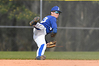 Shortstop Deangelo Abboud (10) of the Spartanburg Methodist College Pioneers throws out a runner in Game 2 of a junior college doubleheader against Southeastern Community College on Wednesday, March 28, 2018, at Mooneyham Field in Spartanburg, South Carolina. (Tom Priddy/Four Seam Images)