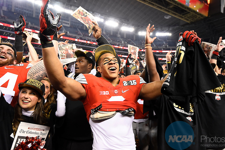 12 JAN 2015:  Evan Spencer (6) of Ohio State University celebrates after defeating the University of Oregon during the College Football Playoff National Championship held at AT&T Stadium in Arlington, TX.  Ohio State defeated Oregon 42-20 for the national title.  Jamie Schwaberow/NCAA Photos