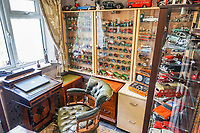 BNPS.co.uk (01202 558833)<br /> Pic: PurpleBricks/BNPS<br /> <br /> Hobby room. <br /> <br /> This £475,000 seaside cottage contains a charming secret – it's built around two Victorian railway carriages.<br /> <br /> The 19th century carriages were used as temporary housing for soldiers returning from the First World War when there was a shortage of homes.<br /> <br /> But many of them remained in place years later and had bricks and mortar built around them.<br /> <br /> And so from the street view they looked like normal houses but inside the main reception rooms were with the converted carriages.