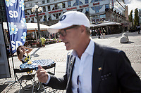 August 29, 2018: CASPAR SETTERGREN, volunteer afiliated to the Swedish Democrats (Sverigedemokraterna), a right wing party running for the coming national elections, speaks out to voters during a proselytism campaign at the Medborgarplatsen square in Stockholm, Sweden. Caspar, a real state businessman, joined to the SD in 2015. The Swedish Democrats party is known for its anti-immigration policy as well as for its links to the extreme right militancy in the country.