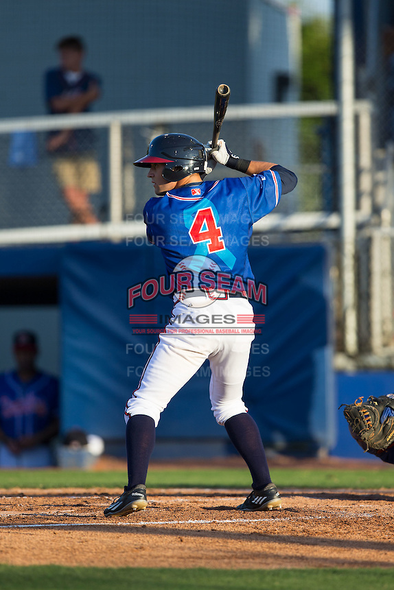 J.B. Moss (4) of the Danville Braves at bat against the Kingsport Mets at American Legion Post 325 Field on July 9, 2016 in Danville, Virginia.  The Mets defeated the Braves 10-8.  (Brian Westerholt/Four Seam Images)