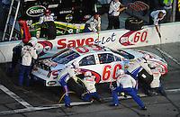 Jul. 4, 2008; Daytona Beach, FL, USA; Nascar Nationwide Series driver Carl Edwards pits during the Winn-Dixie 250 at Daytona International Speedway. Mandatory Credit: Mark J. Rebilas-