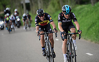 2 smiling (?) faces Michal Kwiatkowski (POL/SKY) &amp; Philippe Gilbert (BEL/Quick Step floors) racing together towards the finish<br /> <br /> 52nd Amstel Gold Race (1.UWT)<br /> 1 Day Race: Maastricht &rsaquo; Berg en Terblijt (264km)