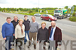 TRAFFIC CHAOS: Residents of the Pike Hill and Coolcaslagh area in Killarney who are calling for speed restriction measures at a busy junction on the Cork road, including l-r: Mike Cronin, Seamus O'Doherty, Noreen O'Doherty, Mark O'Donoghue, Pat Lehane, Annette O'Donoghue, Cllr Danny Healy Rae.