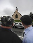 KILGARVAN SUNDAY 29-4-07: Independent South Kerry TD Jackie Healy-Rae and his son Michael await Massgoers to elight from Kilgarvan Church after 11am Mass on Sunday.  Deputy Healy-Rae relies on old style election campaigning with emphasis on after mass rallies and mounted a tractor and trailer to deliver his election manifesto.<br /> Picture by Don MacMonagle