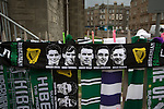 A display of scarves, one featuring the 1950s heroes known as the Famous Five on sale next to Easter Road stadium before the Scottish Championship match between Hibernian and visitors Alloa Athletic. The home team won the game by 3-0, watched by a crowd of 7,774. It was the Edinburgh club's second season in the second tier of Scottish football following their relegation from the Premiership in 2013-14.