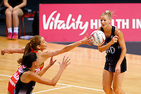 10.02.2017 Silver Ferns Katrina Grant in action during the Silver Ferns v England Roses Vitality Netball International Series test match played at the Echo Arena in Liverpool. Mandatory Photo Credit © Paul Greenwood/Michael Bradley Photography.