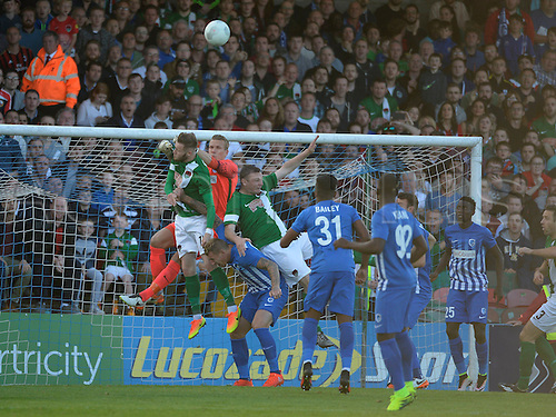 04.08.2016. Cork, Ireland. UEFA, Europa League football qualification round. Cork City versus Racing Genk.  Marco Bizot goalkeeper of Krc Genk punchese clear of his box